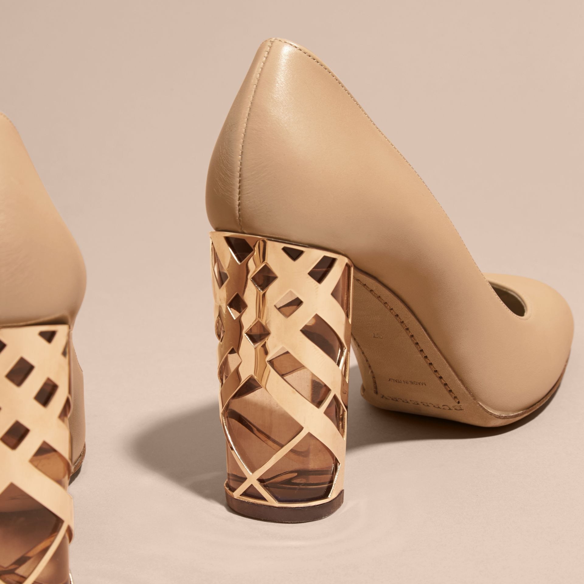 Light nude Check Heel Leather Pumps Light Nude - gallery image 4