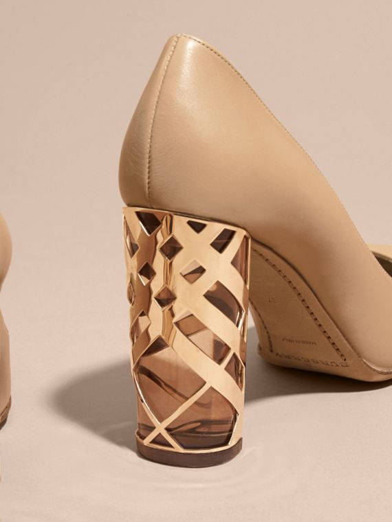 Light nude Check Heel Leather Pumps Light Nude - cell image 3