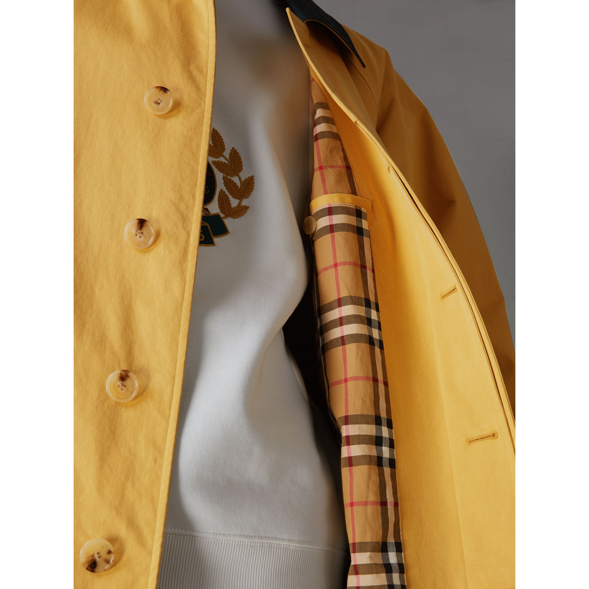 Reissued Waxed Cotton Gabardine Car Coat in Yellow - Men | Burberry - gallery image 1