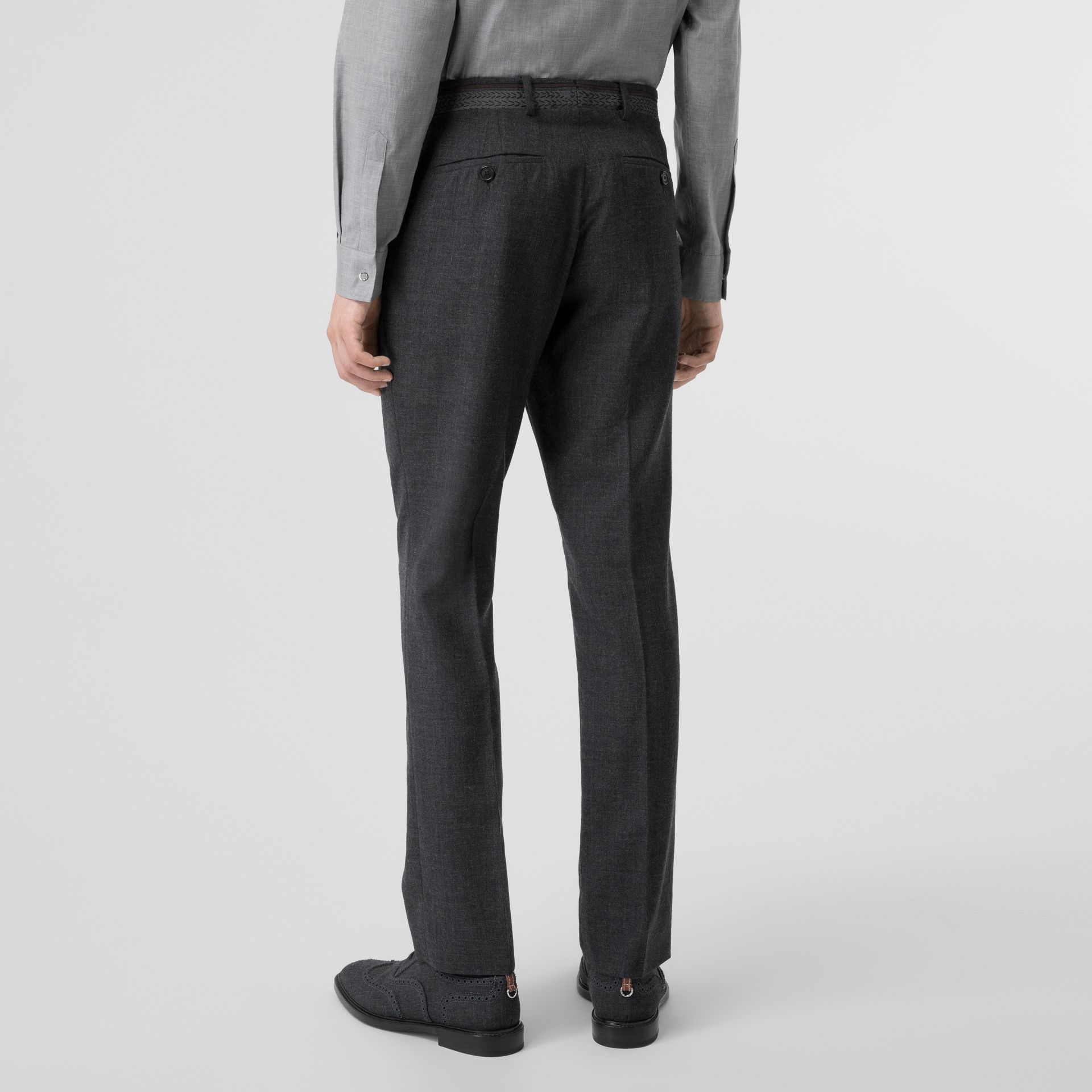 Classic Fit Wool Tailored Trousers in Dark Grey | Burberry Singapore - gallery image 2