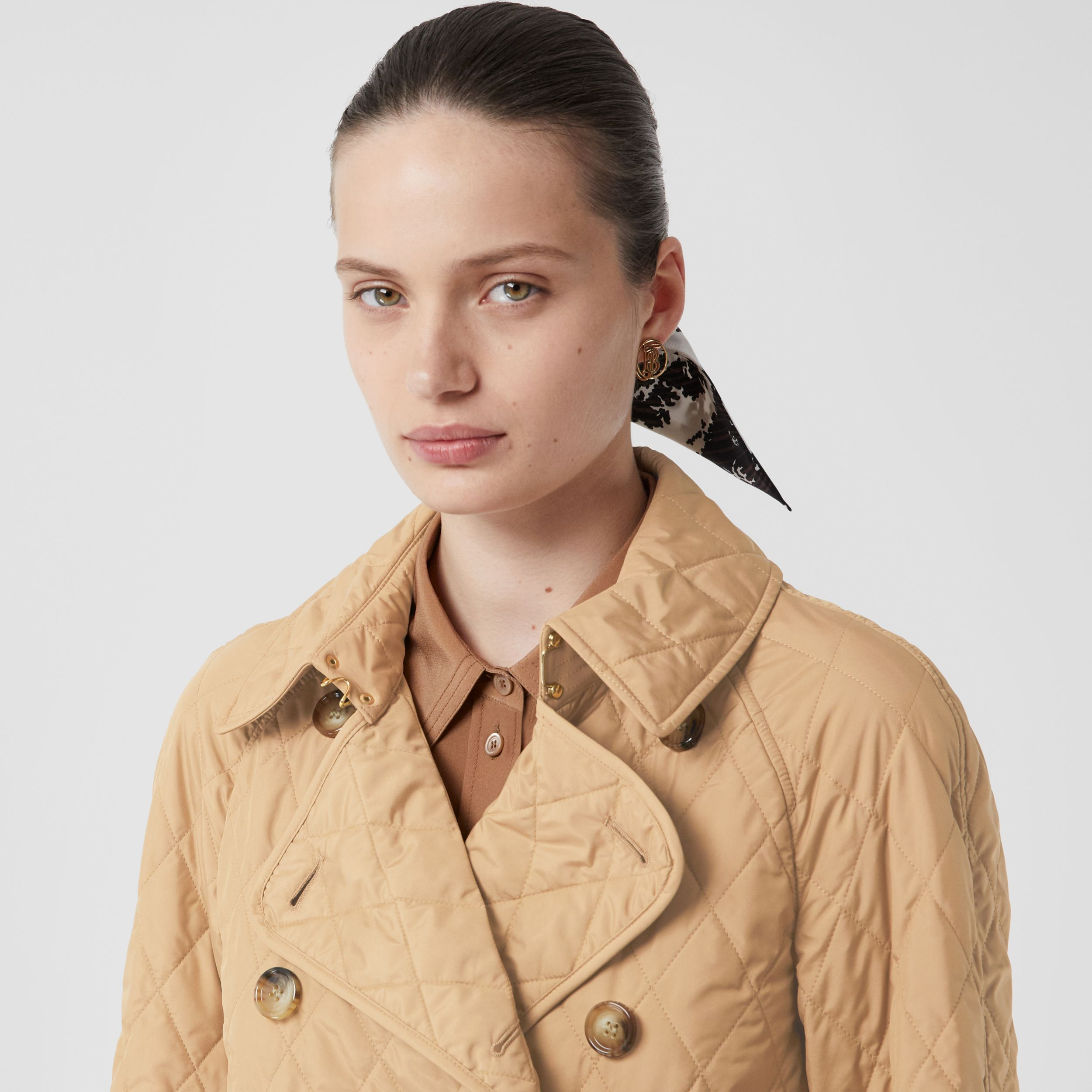 Diamond Quilted Double-breasted Coat in Biscuit - Women | Burberry - 2