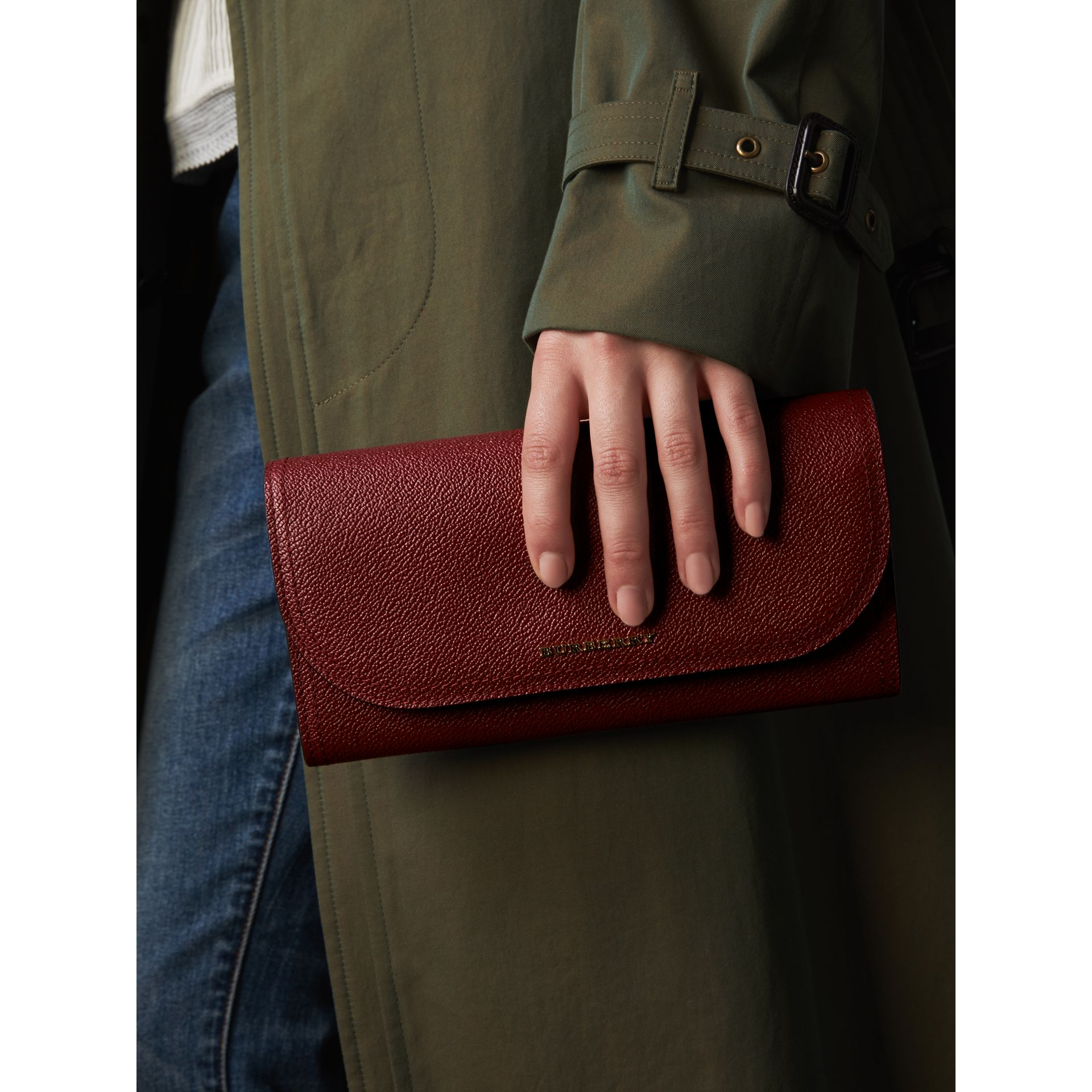 Leather Wallet with Chain in Burgundy - Women | Burberry - gallery image 4