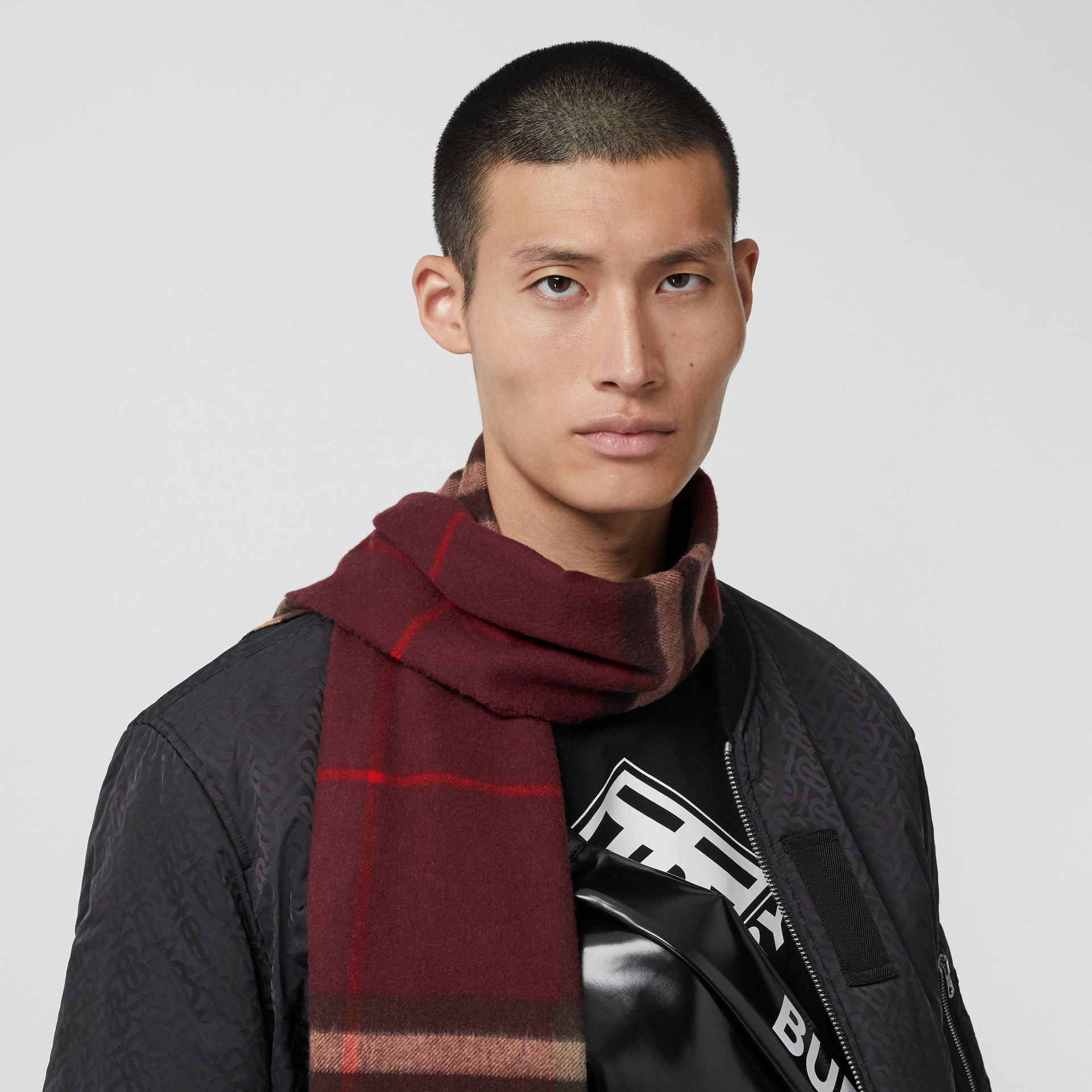 The Classic Check Cashmere Scarf in Burgundy | Burberry United Kingdom - gallery image 3