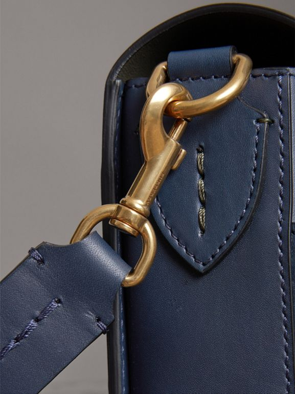 The Medium Square Satchel in Leather in Mid Indigo - Women | Burberry United States - cell image 1