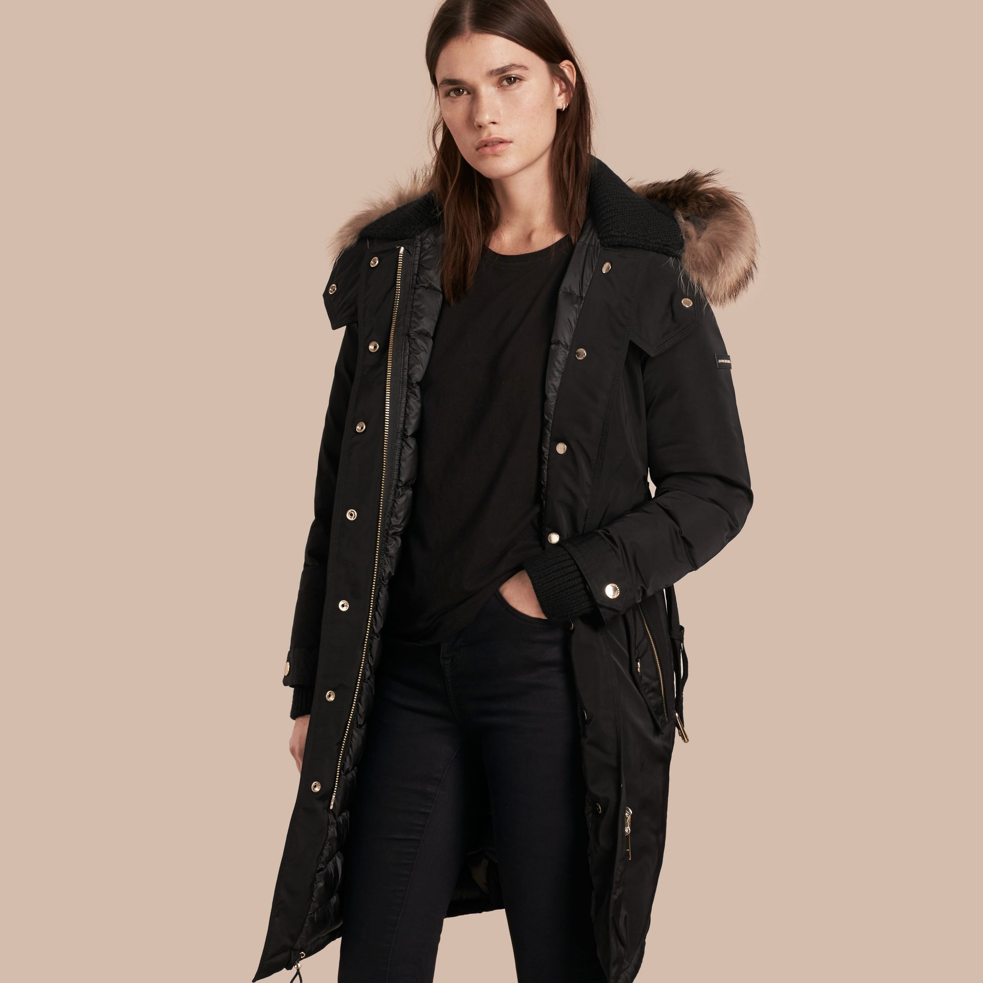 Black Down-filled Parka Coat with Detachable Fur Trim Black - gallery image 1