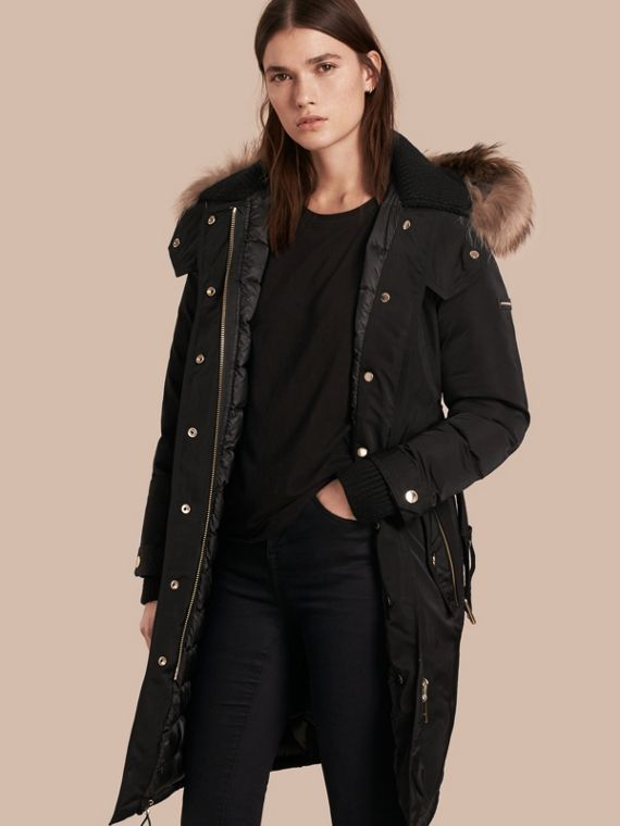 Down-filled Parka Coat with Detachable Fur Trim in Black
