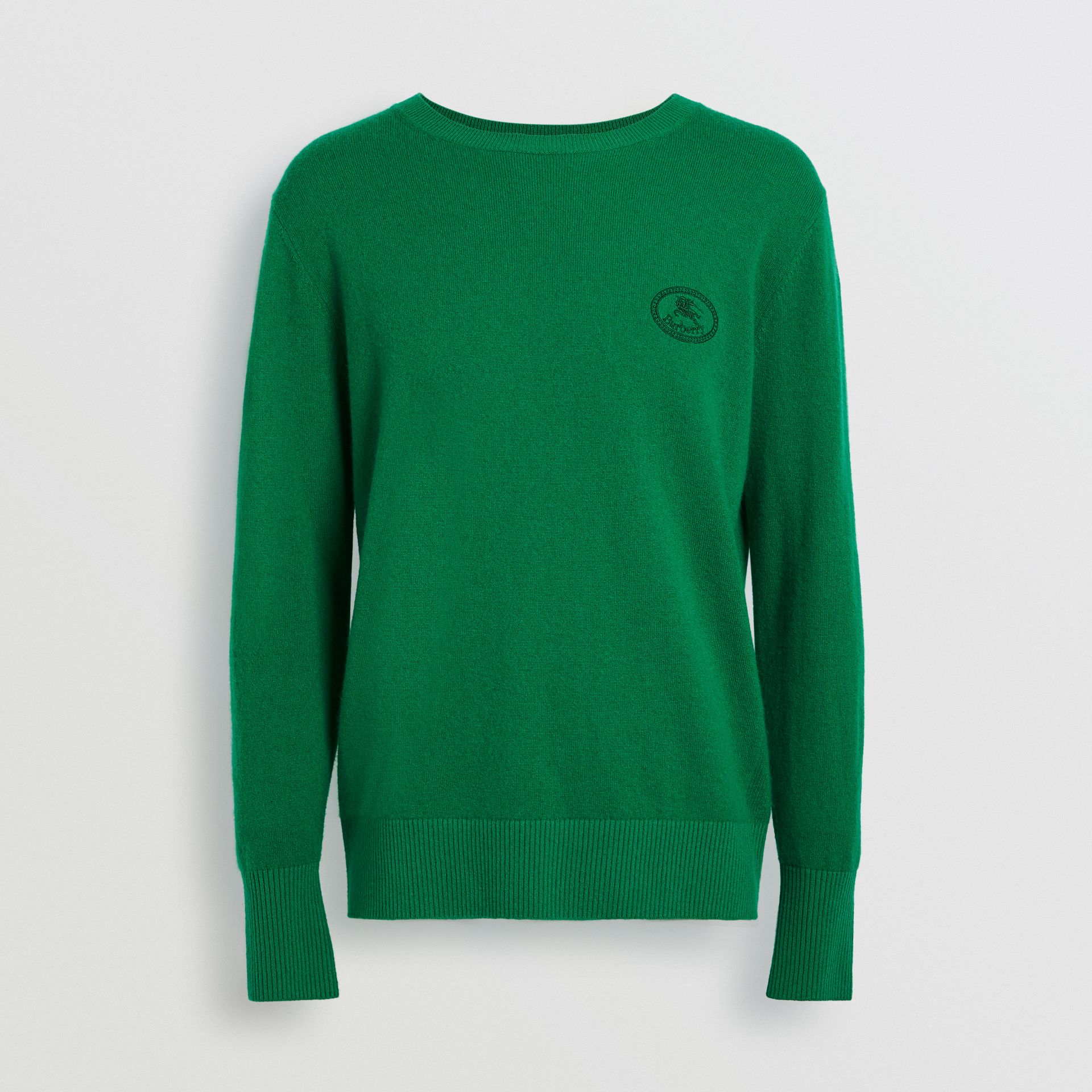Embroidered Archive Logo Cashmere Sweater in Bright Green - Men | Burberry Singapore - gallery image 3