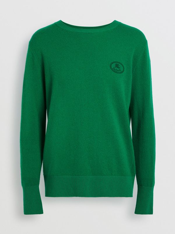 Embroidered Archive Logo Cashmere Sweater in Bright Green - Men | Burberry United Kingdom - cell image 3