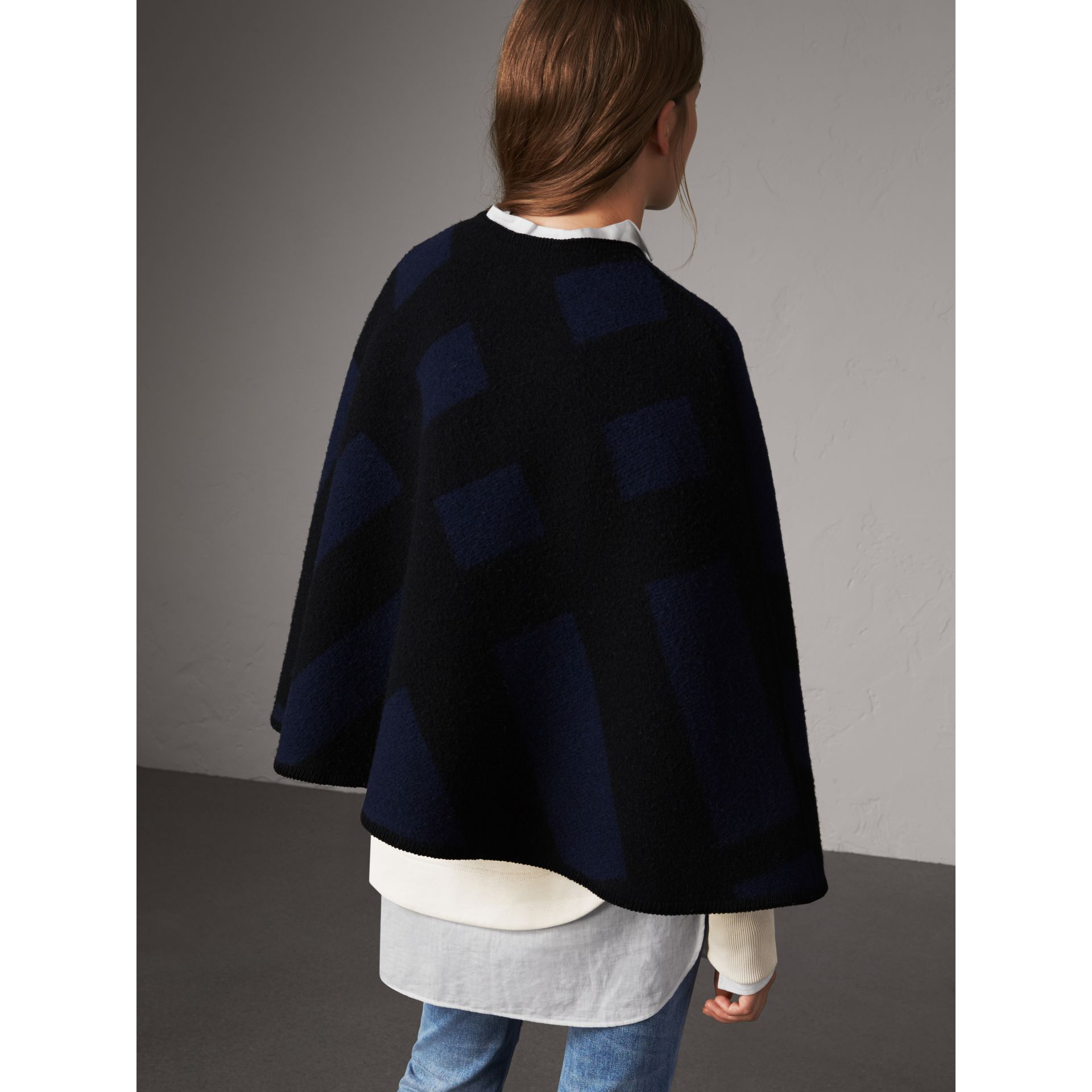 Check Wool Cashmere Blanket Cape in Navy - Women | Burberry - gallery image 3