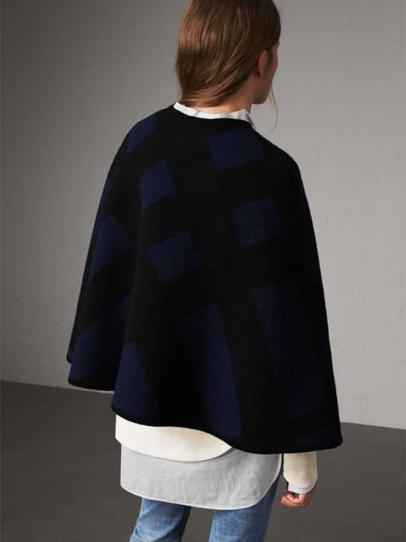Check Wool Cashmere Blanket Cape in Navy - Women | Burberry - cell image 2