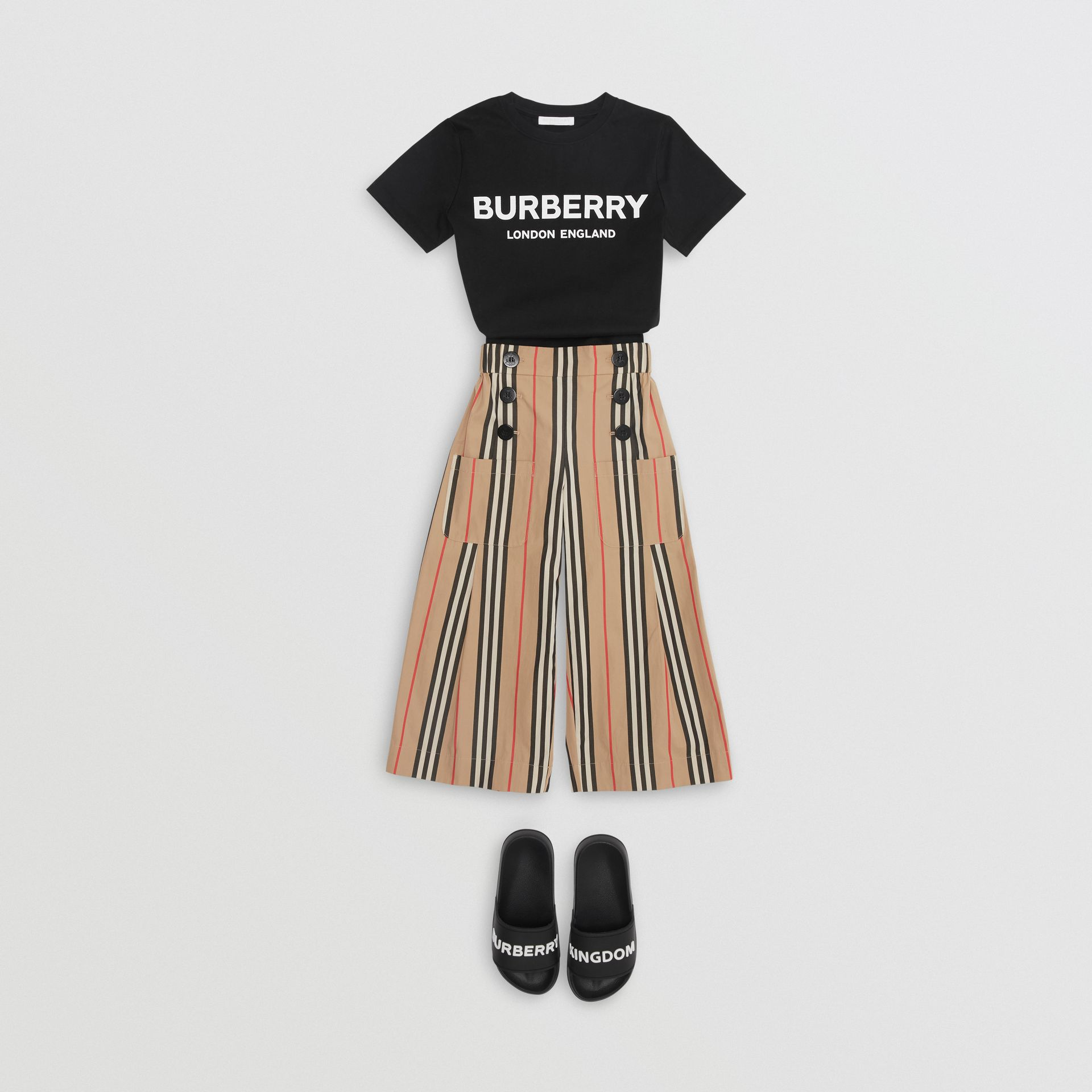 Logo Print Cotton T-shirt in Black | Burberry United States - gallery image 3
