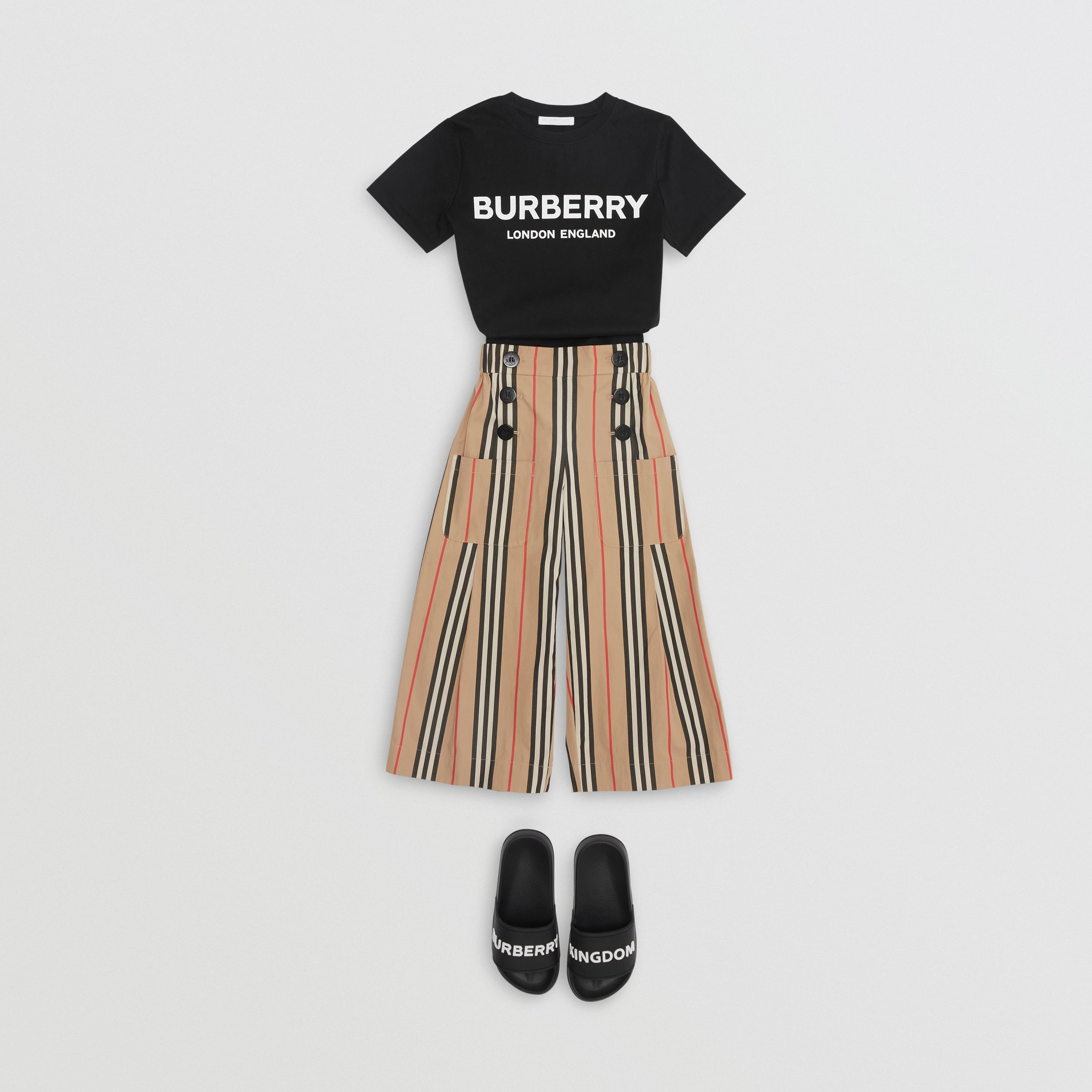Logo Print Cotton T-shirt in Black | Burberry Australia - 4