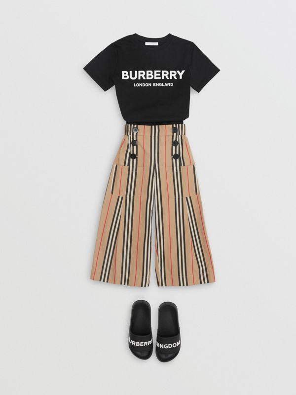 Logo Print Cotton T-shirt in Black | Burberry - cell image 3
