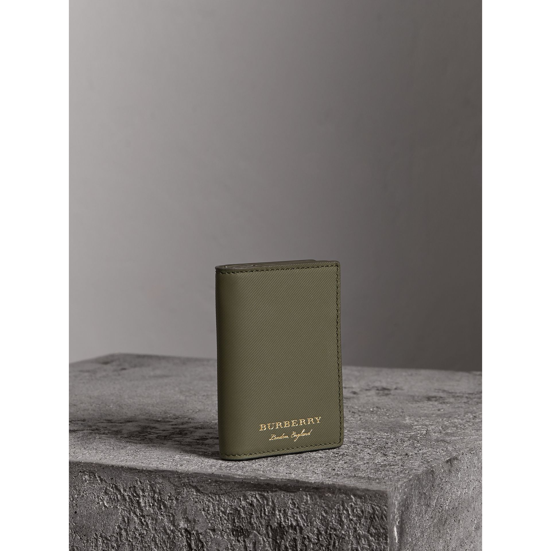 Trench Leather Folding Card Case in Slate Green - Men | Burberry Australia - gallery image 4