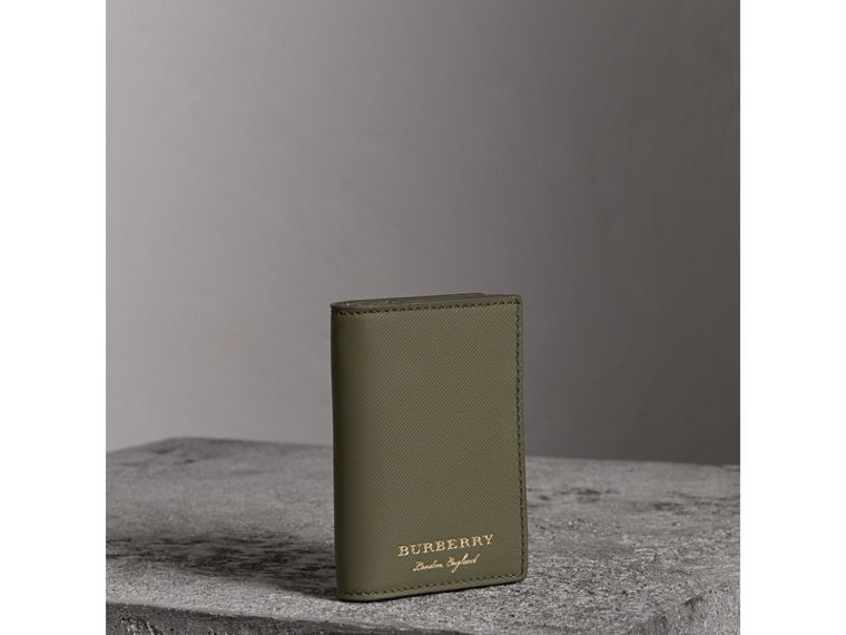 Trench Leather Folding Card Case in Slate Green - Men | Burberry - cell image 4