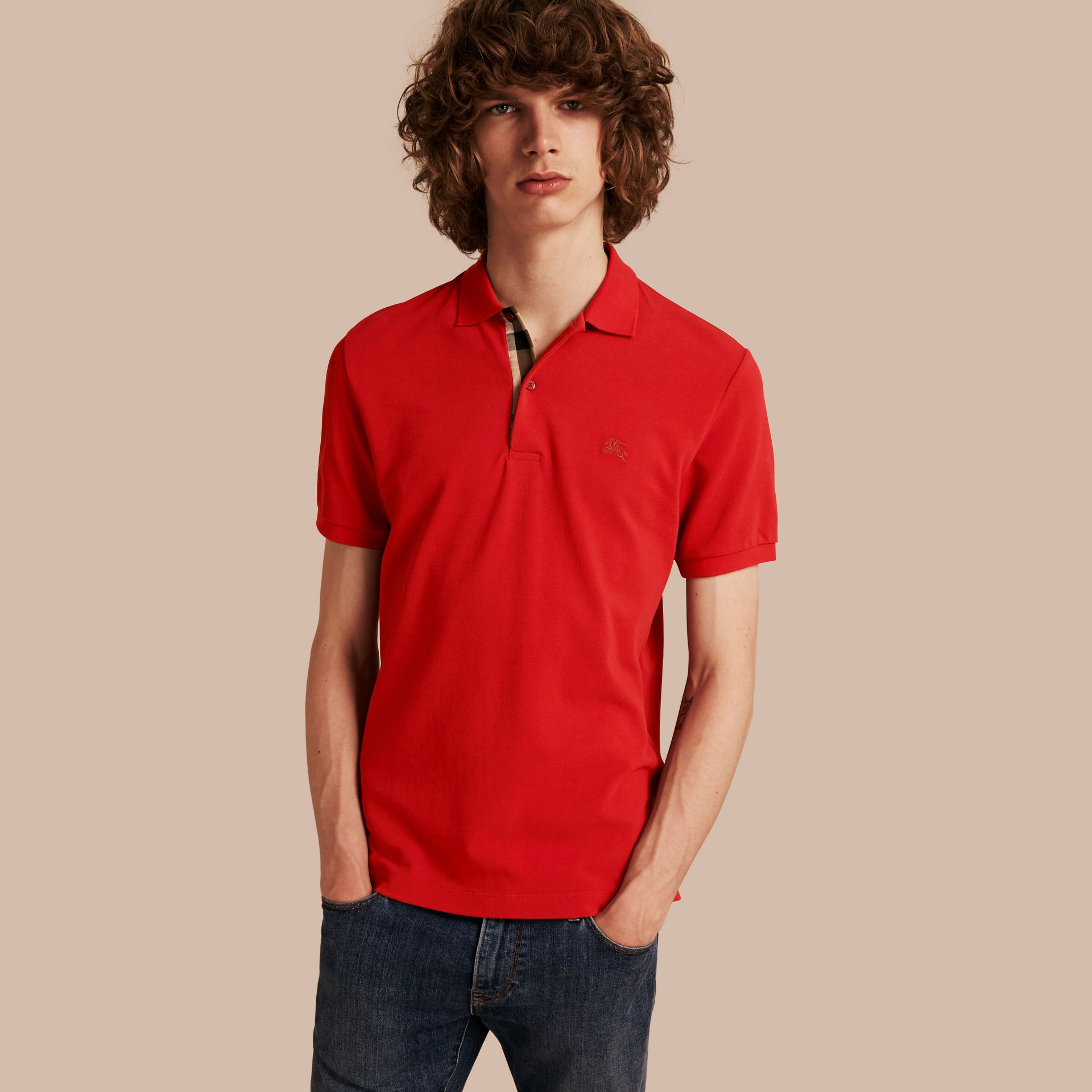 Check Placket Cotton Piqué Polo Shirt in Military Red - gallery image 1