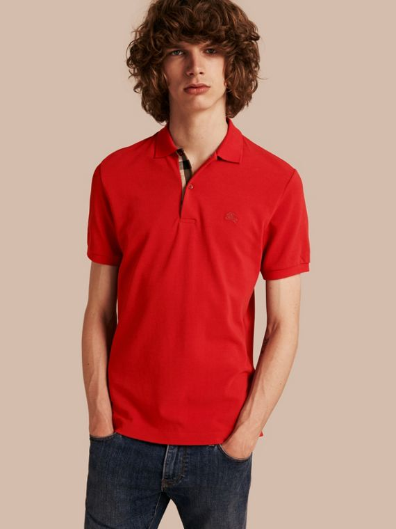 Check Placket Cotton Piqué Polo Shirt in Military Red - Men | Burberry