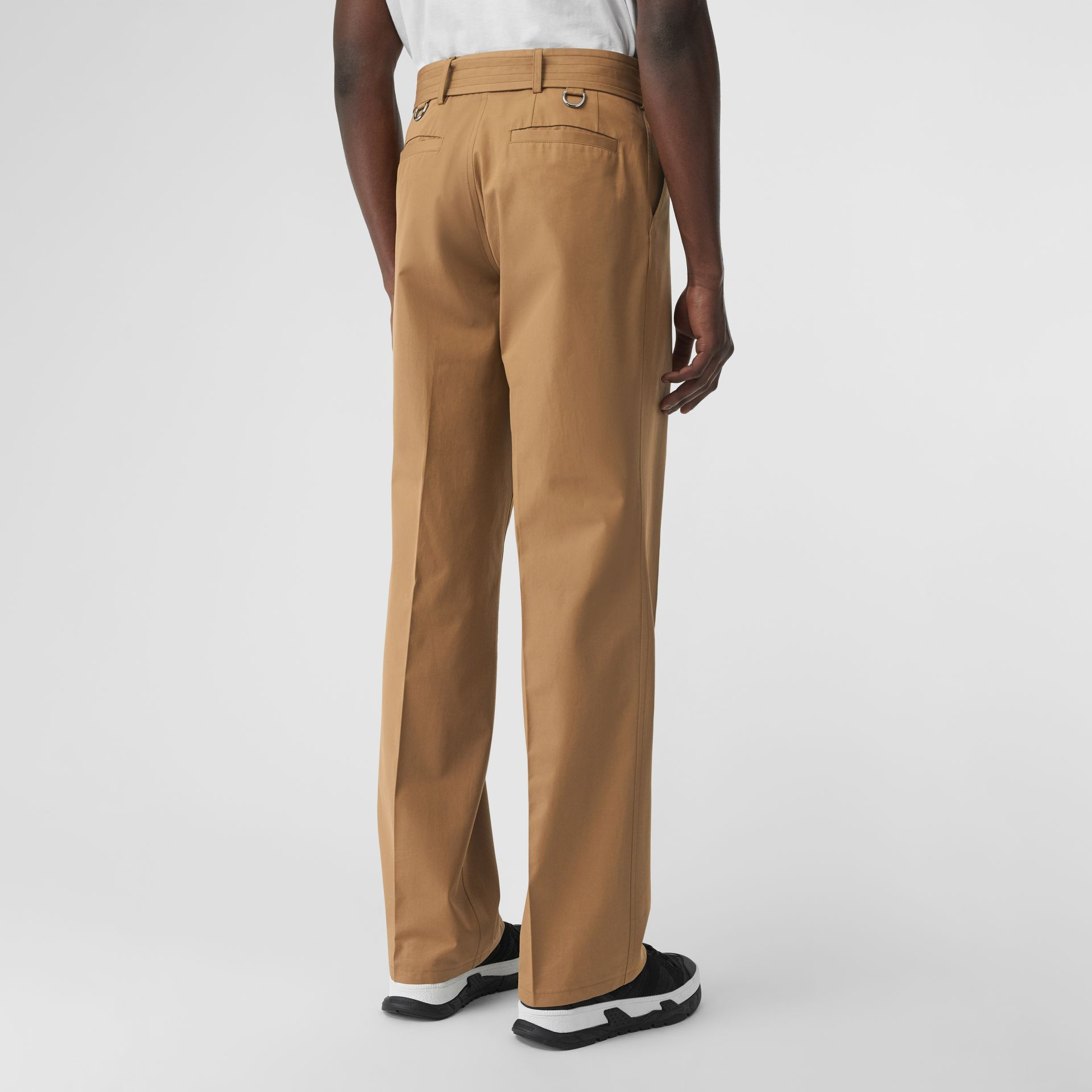 D-ring Detail Belted Cotton Trousers in Toffee | Burberry - gallery image 2