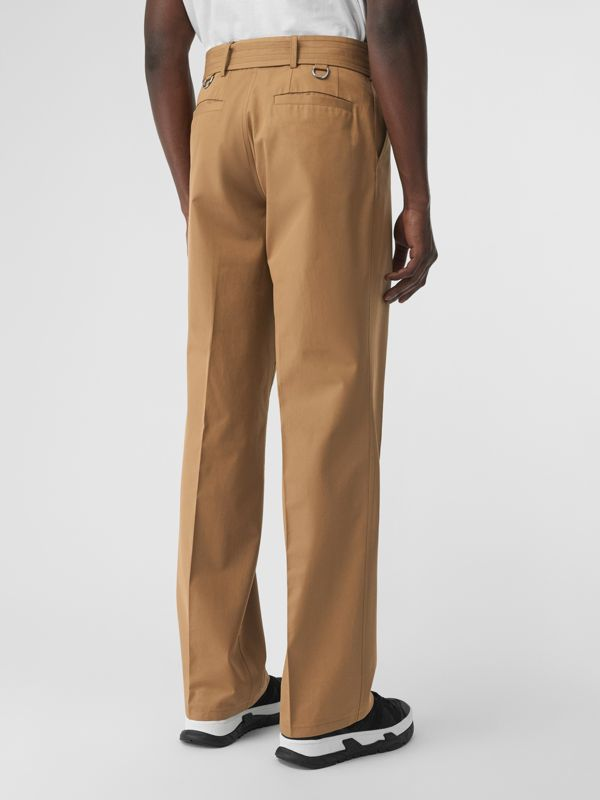 D-ring Detail Belted Cotton Trousers in Toffee | Burberry United Kingdom - cell image 2