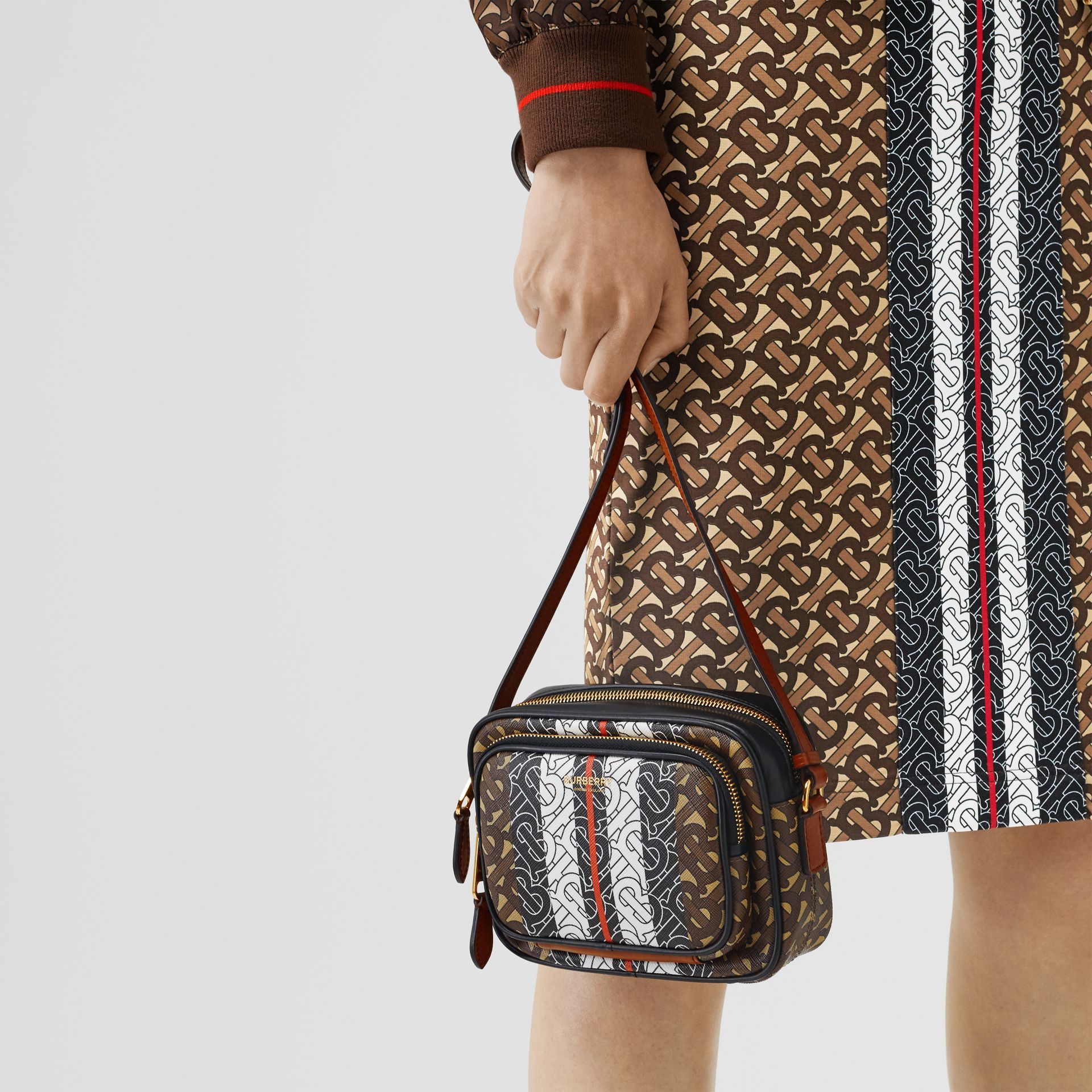 Monogram Stripe E-canvas Camera Bag in Bridle Brown | Burberry Singapore - gallery image 2