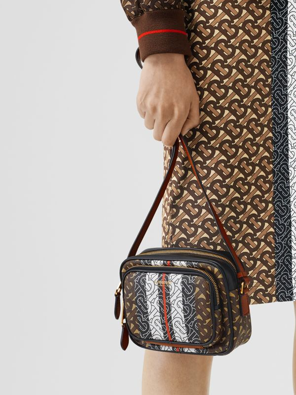 Monogram Stripe E-canvas Camera Bag in Bridle Brown | Burberry Singapore - cell image 2