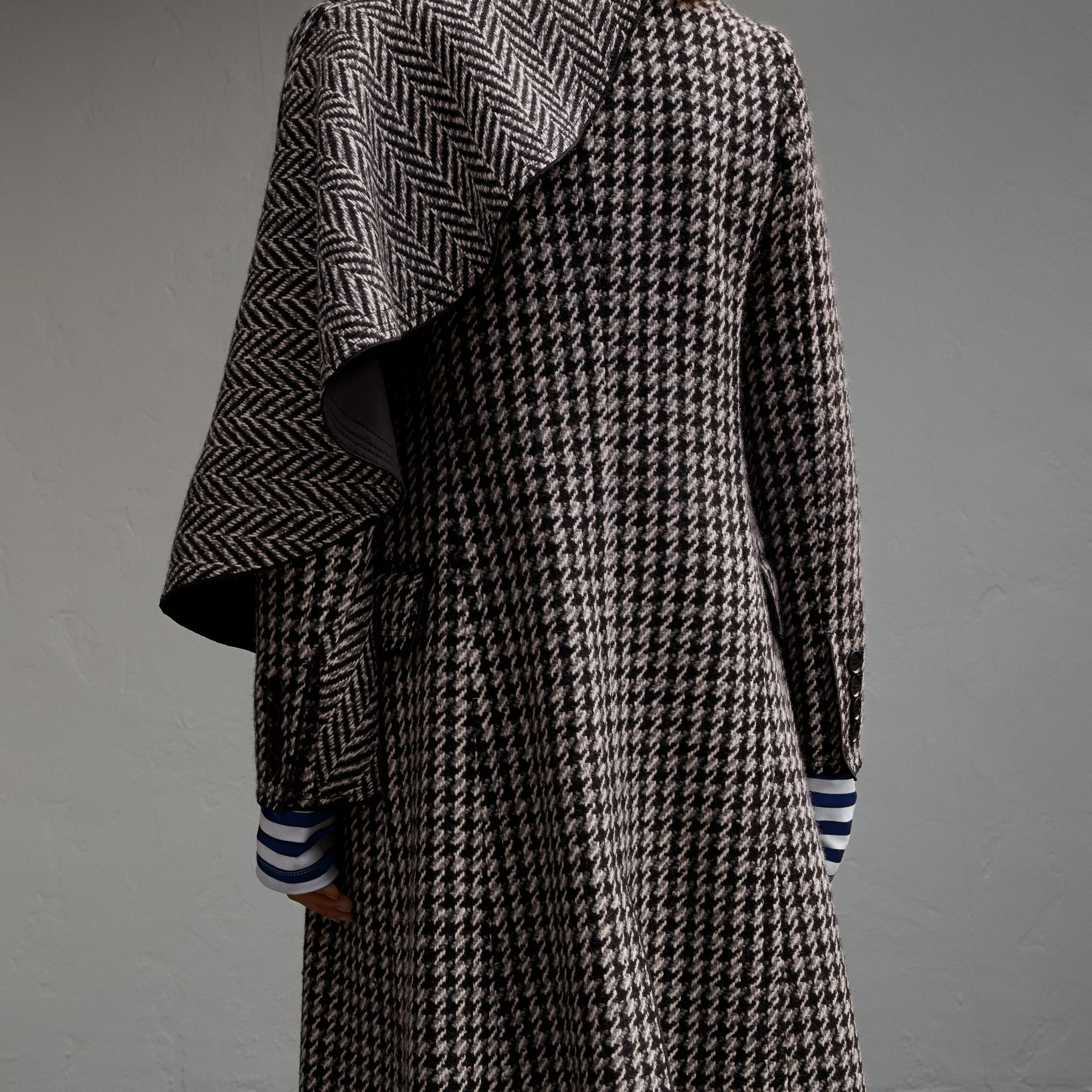 Sculptural Panel Houndstooth Wool A-line Coat - gallery image 5