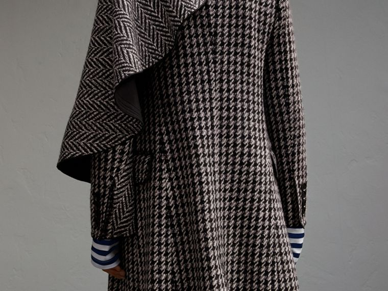 Sculptural Panel Houndstooth Wool A-line Coat - cell image 4