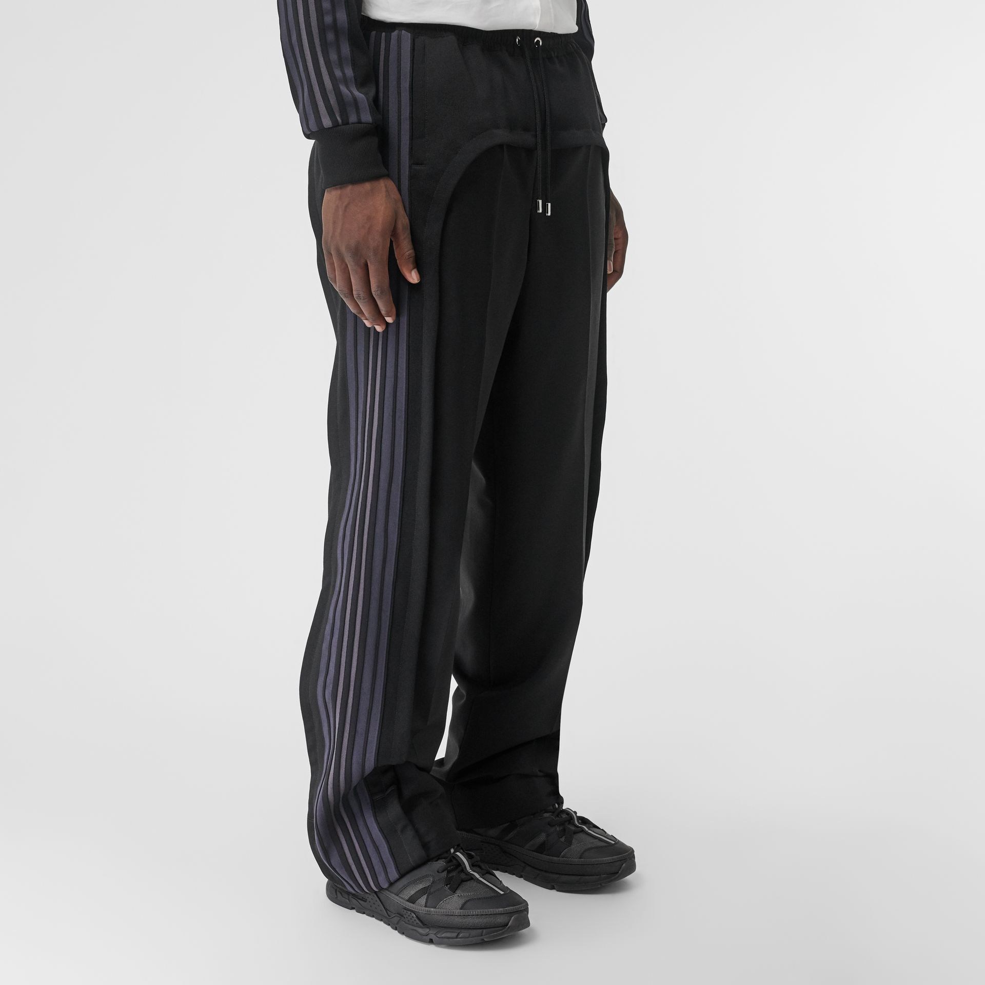 Striped Panel Wool Mohair Tailored Trousers in Black | Burberry Canada - gallery image 4