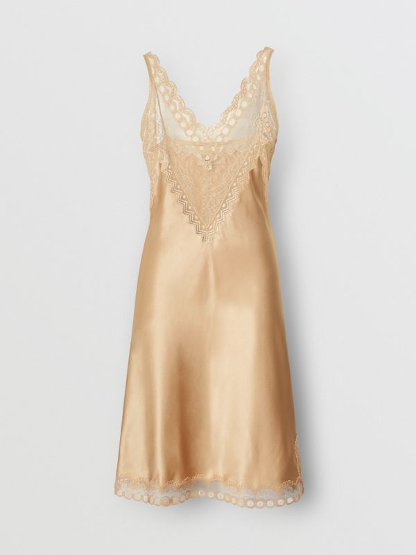 Lace Detail Silk Slip Dress in Honey - Women | Burberry - cell image 3