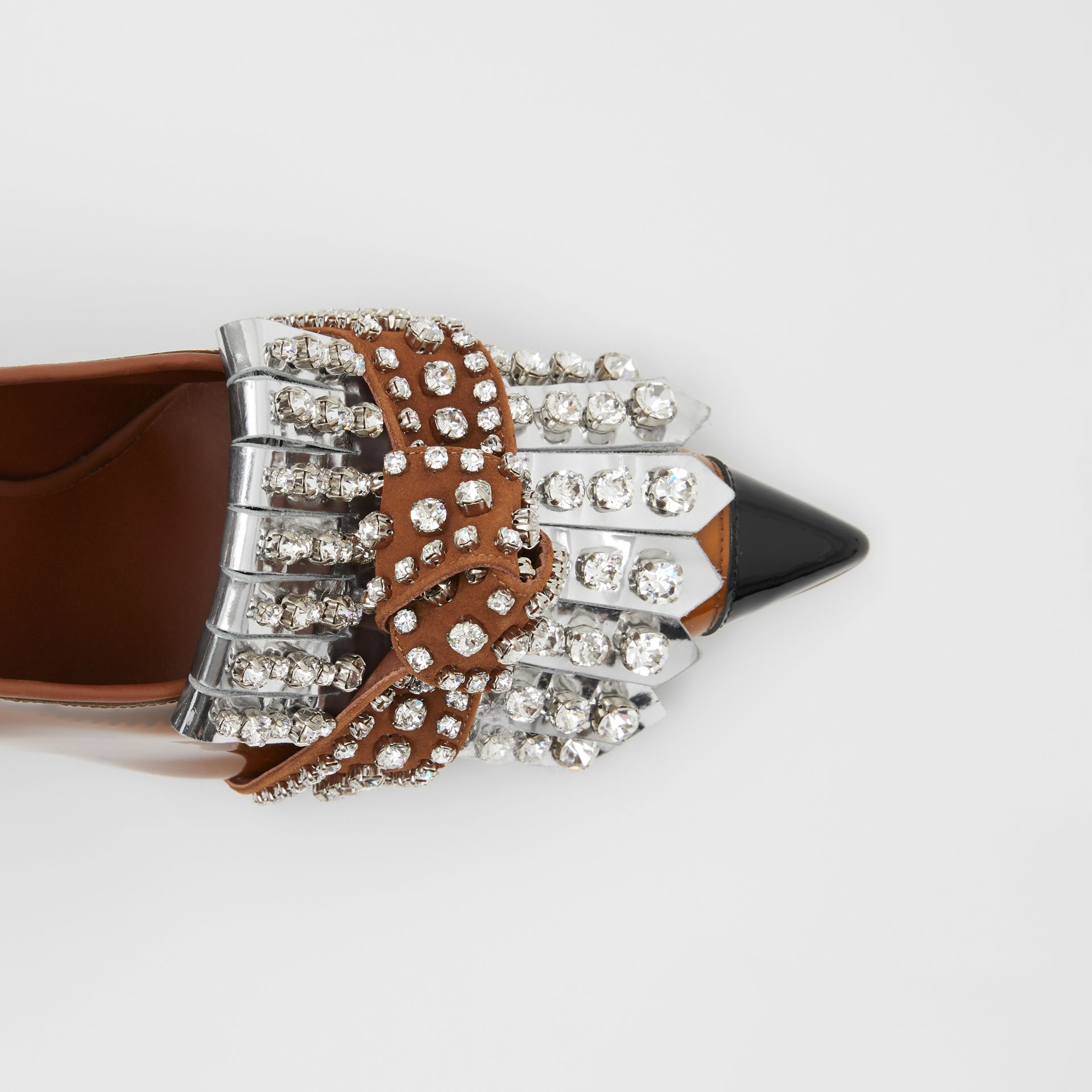 Crystal Kiltie Fringe Vinyl and Leather Point-toe Pumps in Malt Brown/black - Women | Burberry - gallery image 1