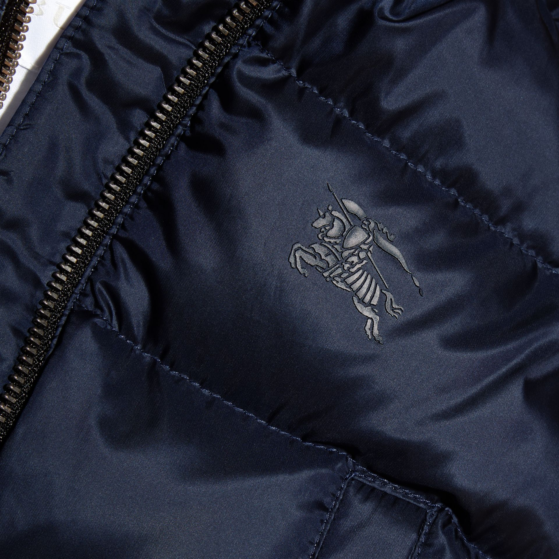 Hooded Down-filled Puffer Jacket with Mittens in Navy | Burberry Canada - gallery image 2