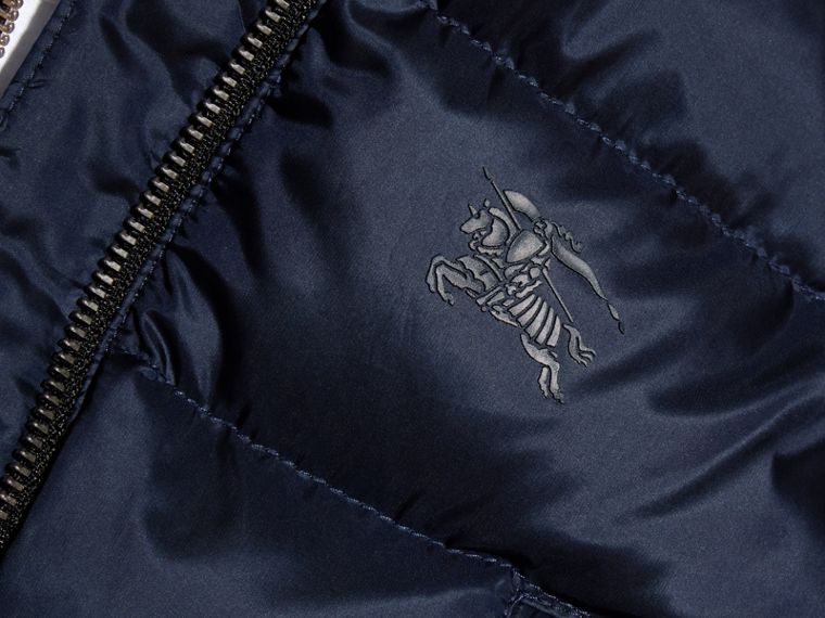 Hooded Down-filled Puffer Jacket with Mittens in Navy | Burberry - cell image 1