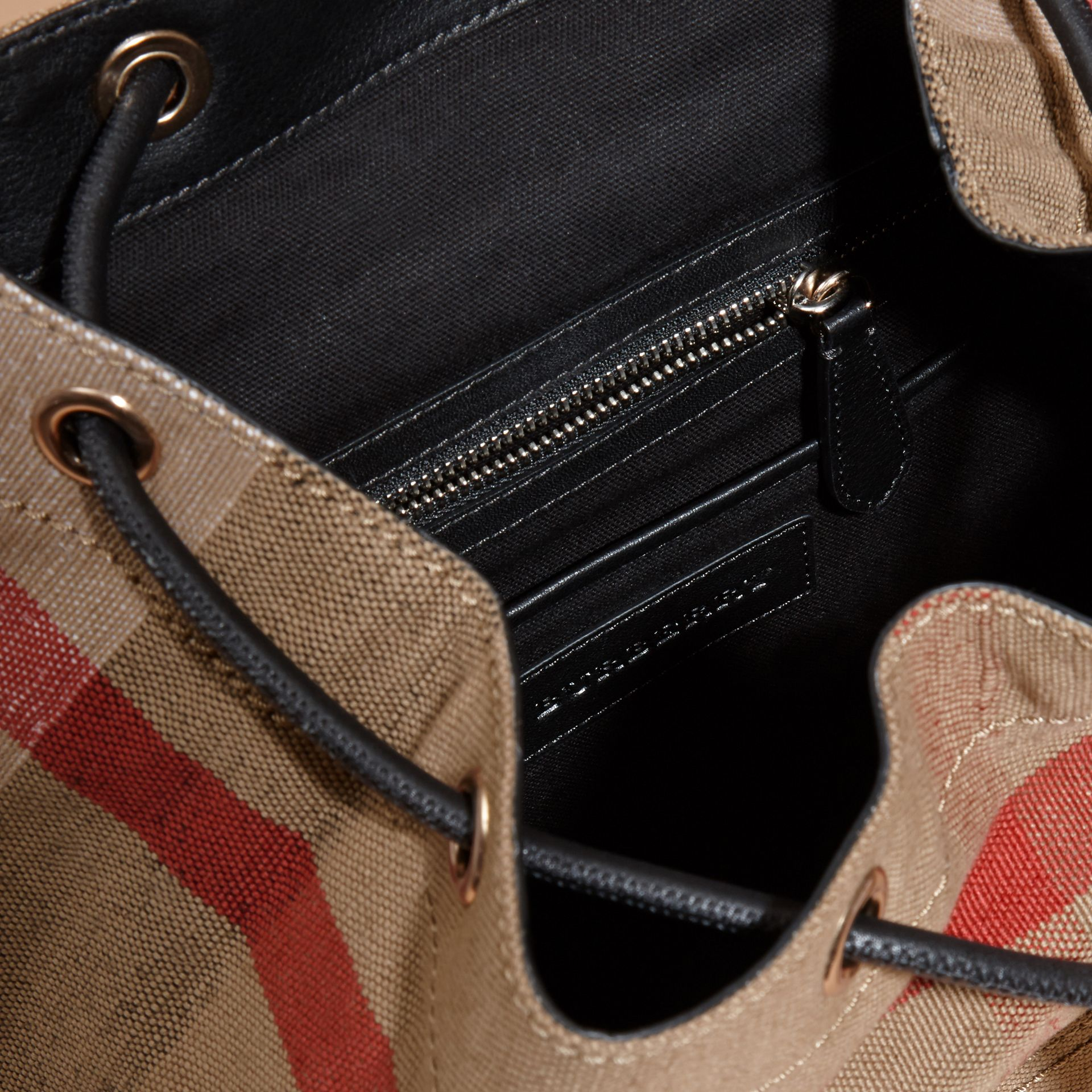 Black The Medium Rucksack in Canvas Check and Leather - gallery image 5