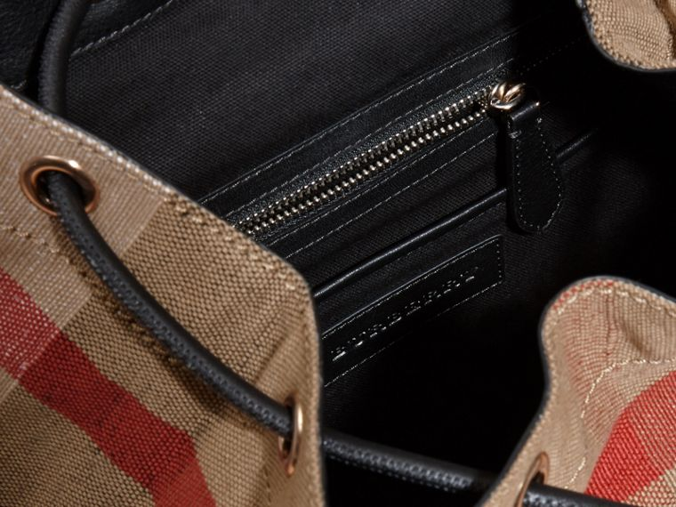 The Medium Rucksack in Canvas Check and Leather - cell image 4