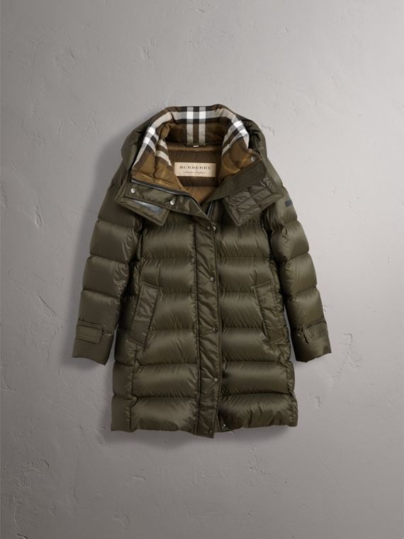 Detachable Hooded Down-filled Puffer Coat in Olive - Women | Burberry - cell image 3