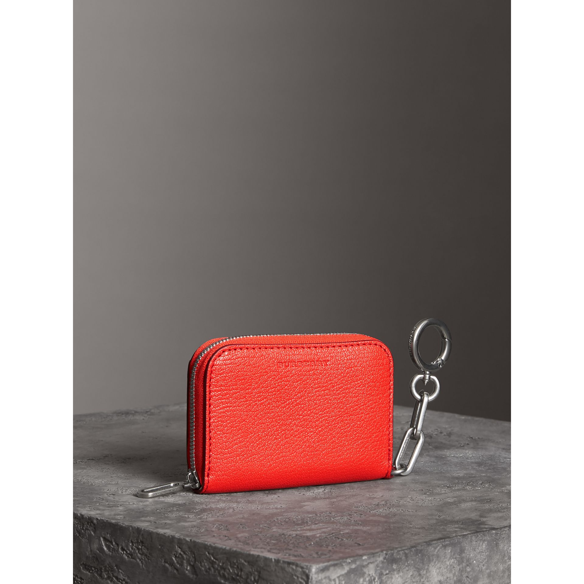 Link Detail Leather Ziparound Wallet in Bright Red | Burberry Australia - gallery image 2