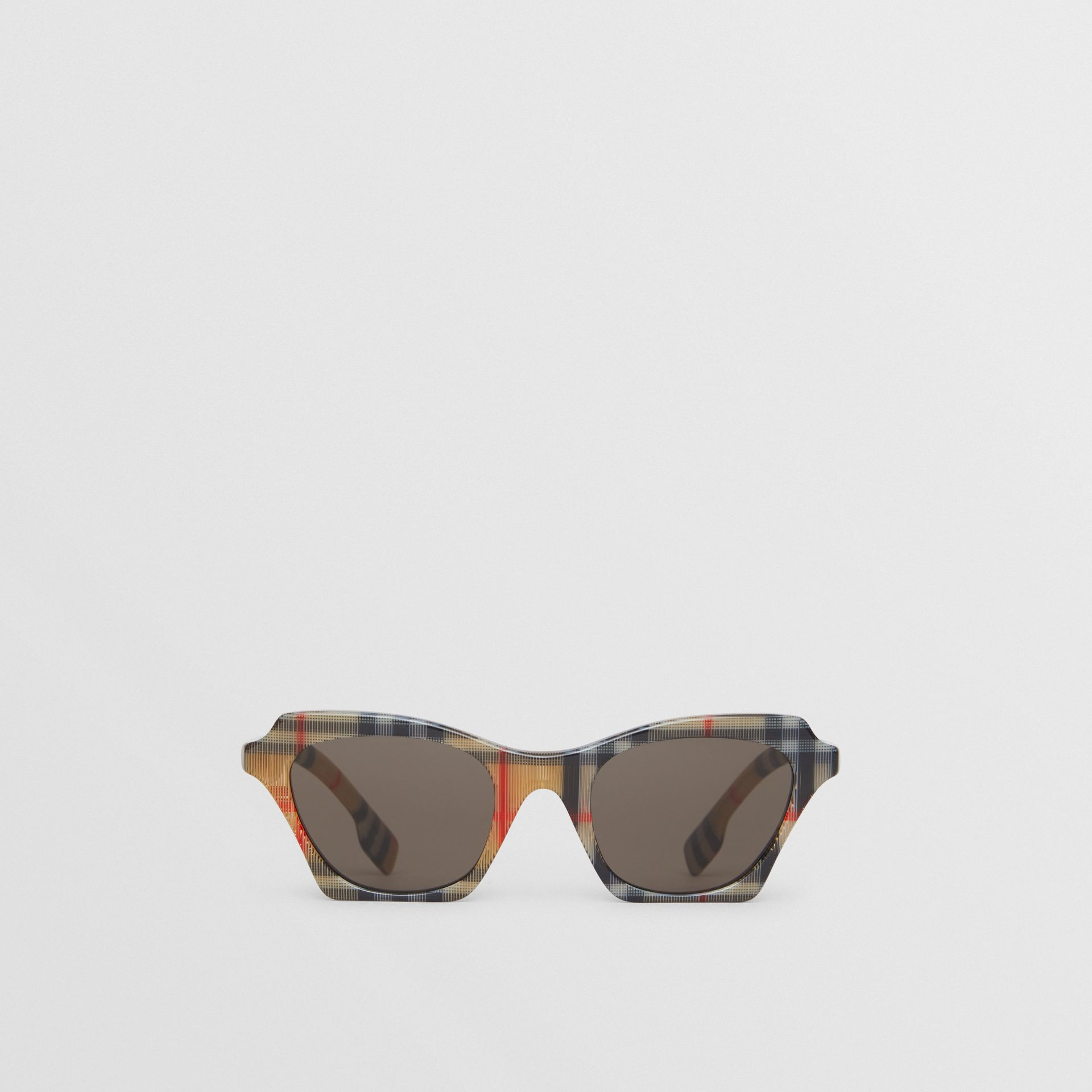Vintage Check Butterfly Sunglasses in Antique Yellow - Women | Burberry Hong Kong S.A.R - gallery image 0