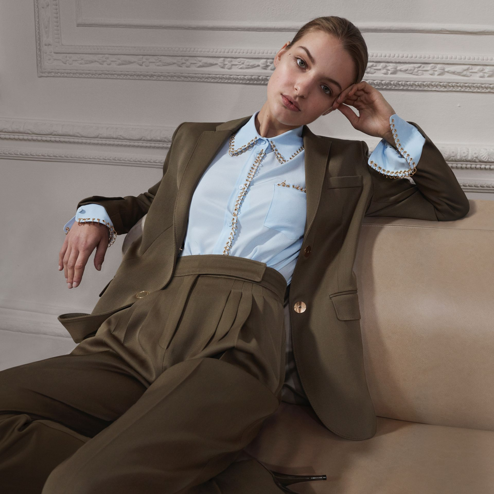 Pleat Detail Wool Twill Tailored Trousers in Warm Taupe - Women | Burberry - gallery image 1