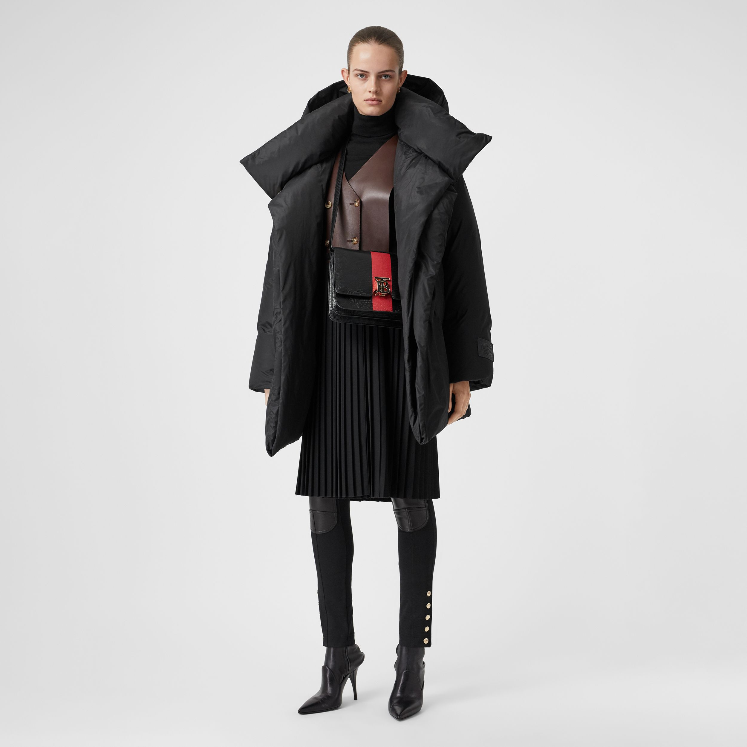 Detachable Hood Down-filled Oversized Wrap Coat in Black - Women | Burberry - 1