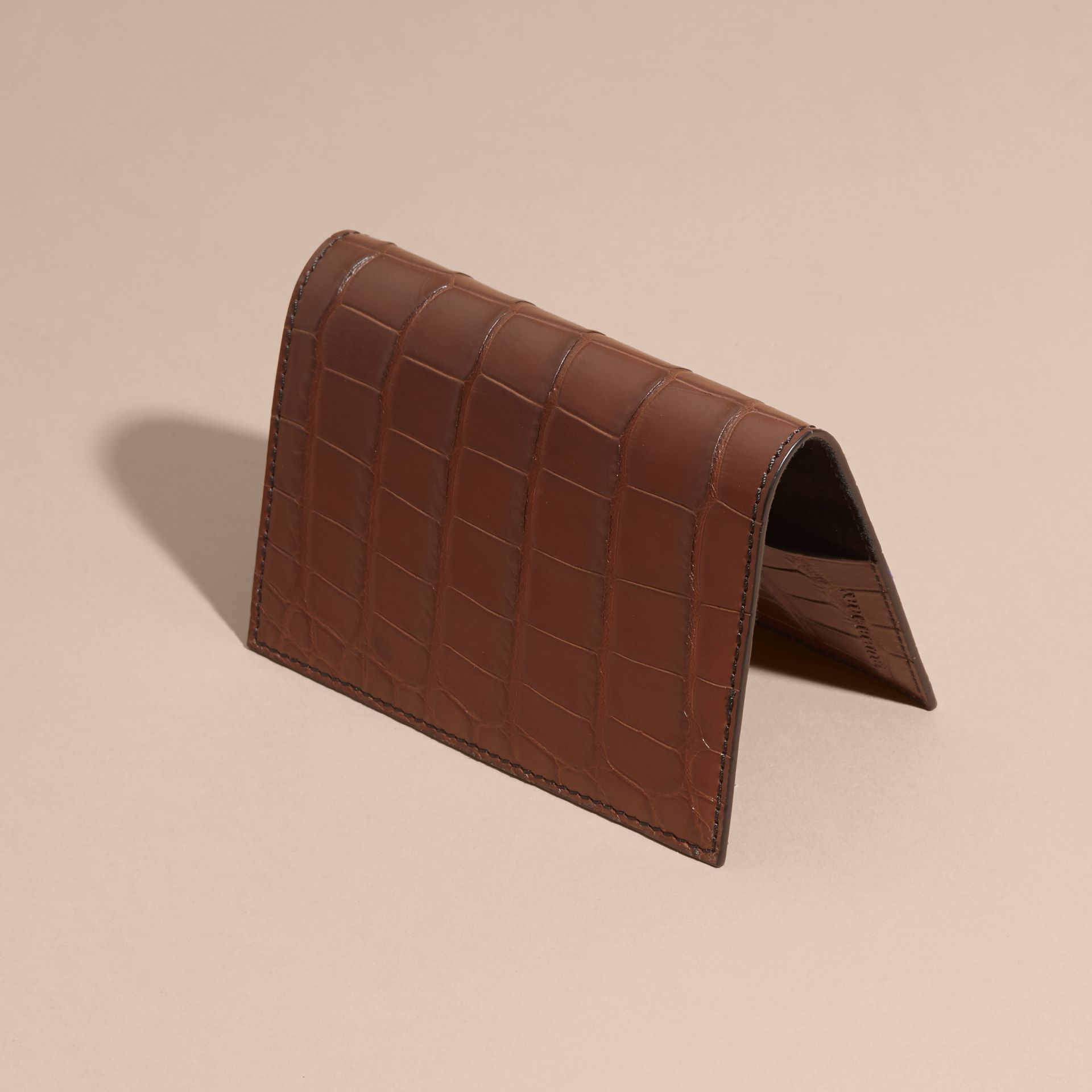 Alligator Passport Holder in Flax Brown | Burberry - gallery image 3