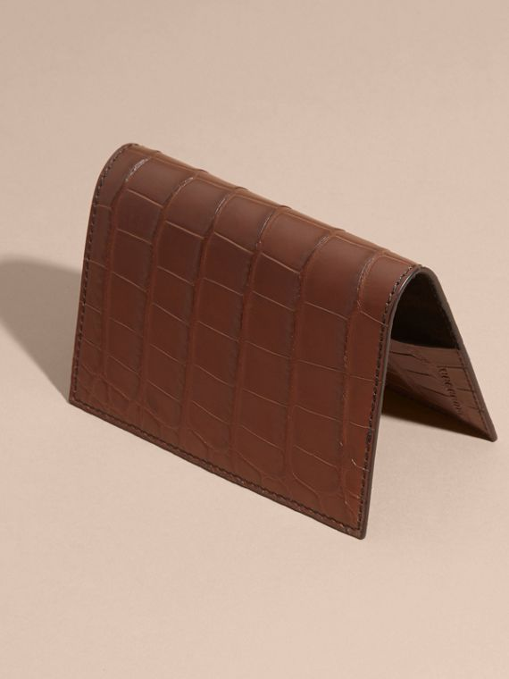 Alligator Passport Holder in Flax Brown | Burberry - cell image 2