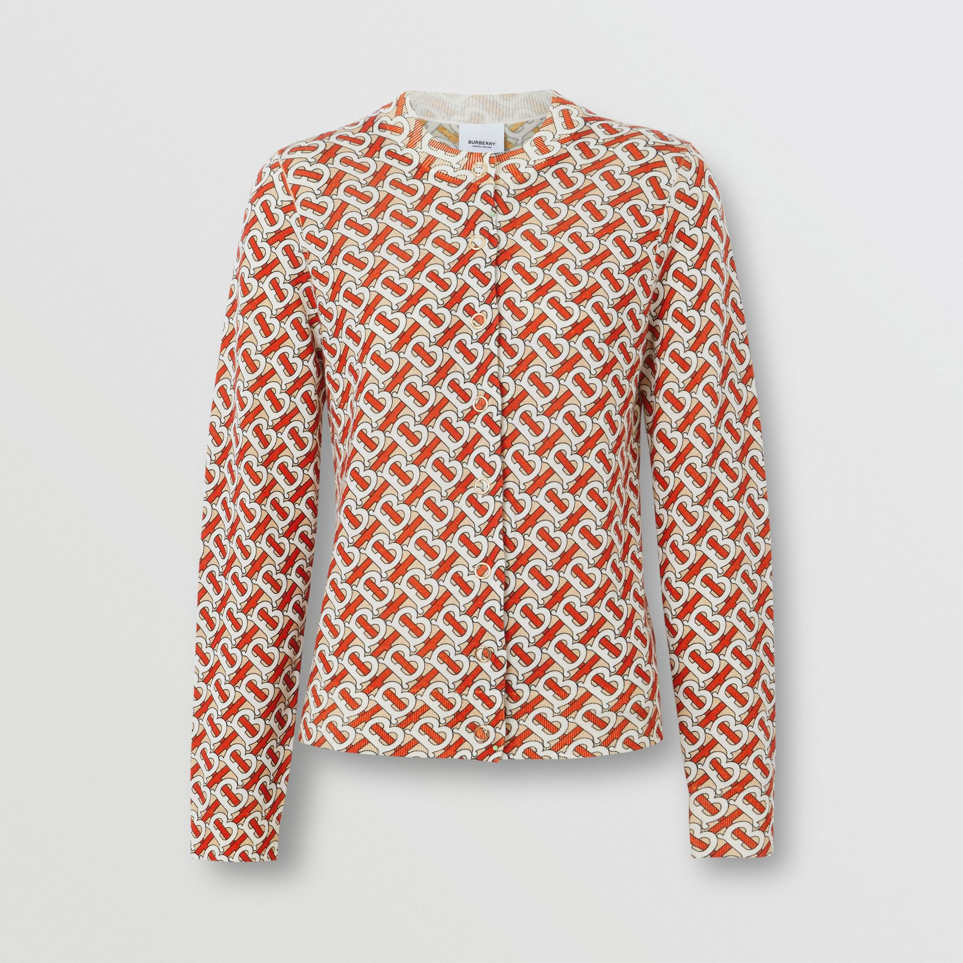 Monogram Print Merino Wool Cardigan in Vermillion - Women | Burberry United Kingdom - gallery image 3
