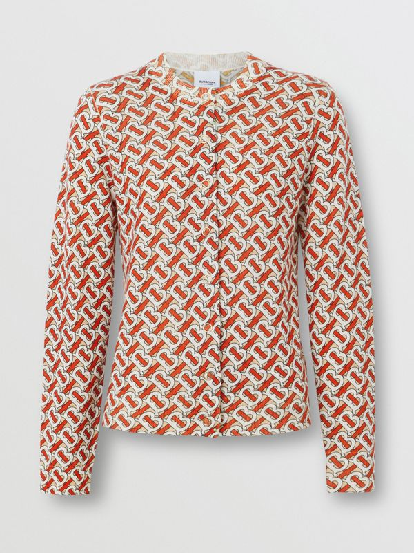 Monogram Print Merino Wool Cardigan in Vermillion - Women | Burberry - cell image 3
