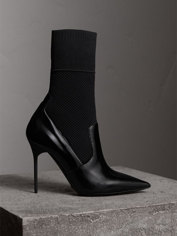 Mid-calf Patent Leather and Knitted Mesh Boots in Black