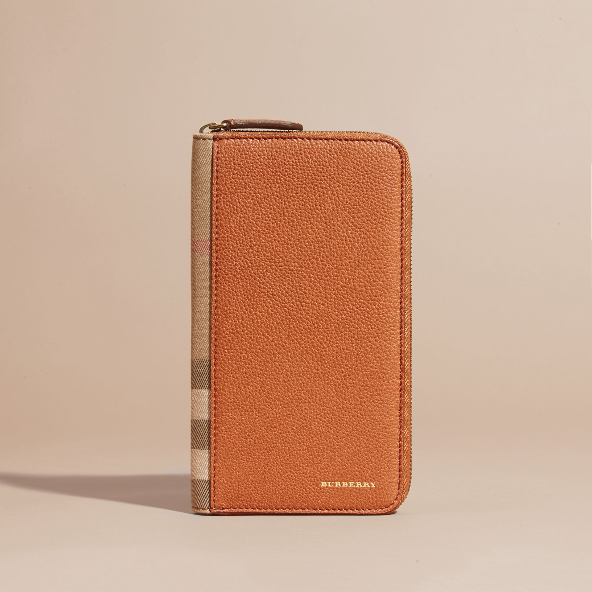 House Check and Grainy Leather Ziparound Wallet Russet - gallery image 2