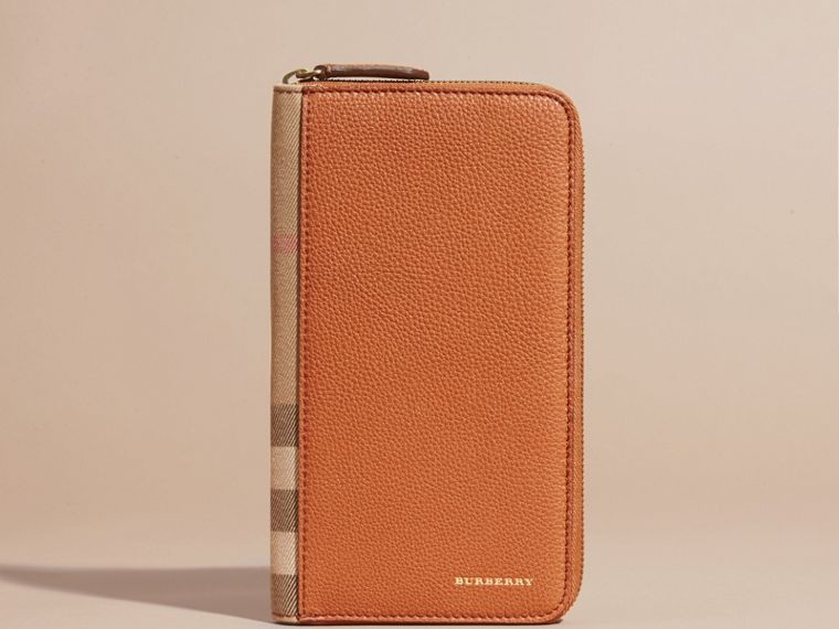 House Check and Grainy Leather Ziparound Wallet - cell image 1