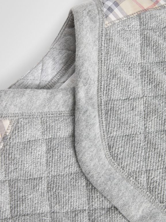 Check Detail Cotton Diamond Quilted Jumpsuit in Grey Melange - Children | Burberry United Kingdom - cell image 1