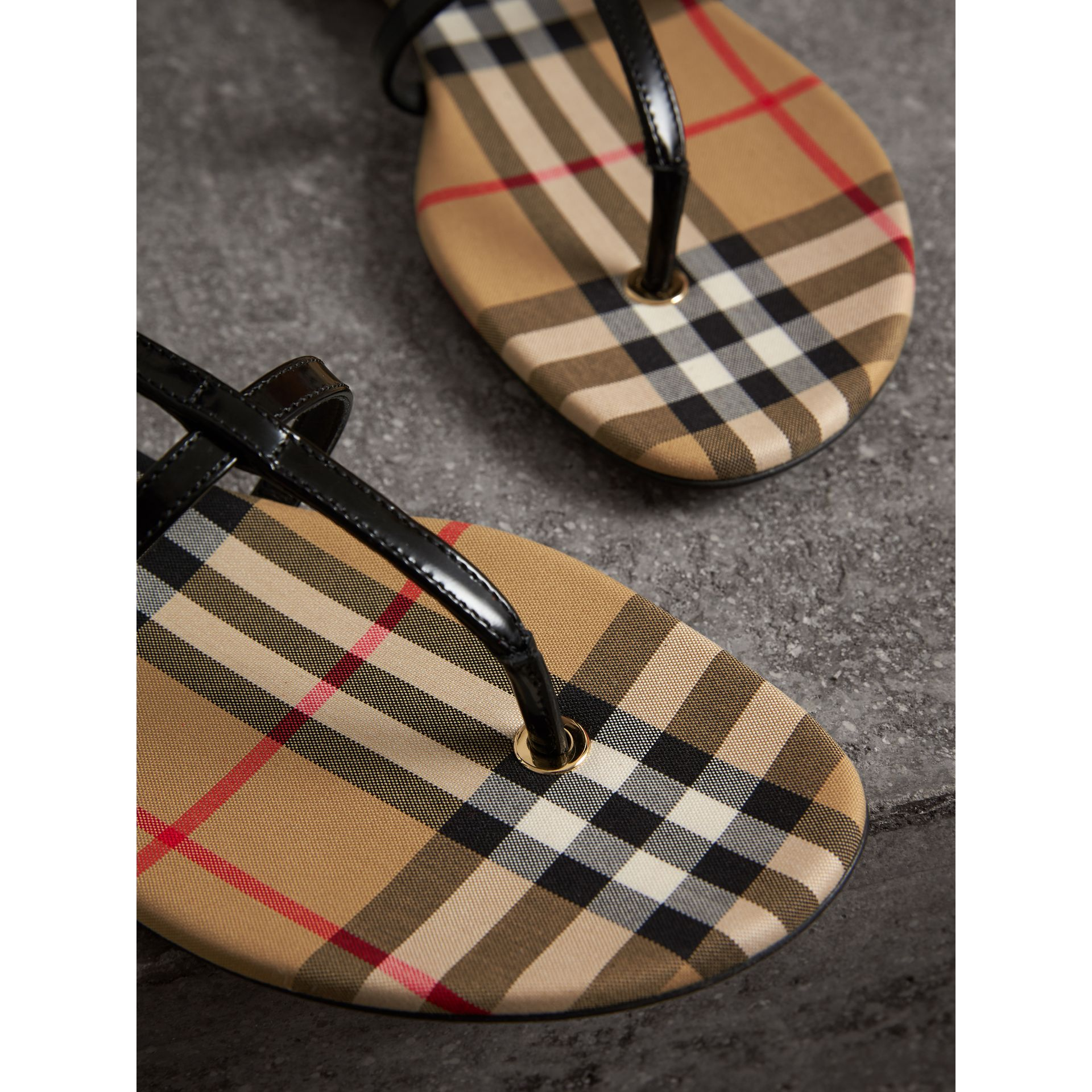 Vintage Check and Leather Sandals in Black - Women | Burberry - gallery image 1