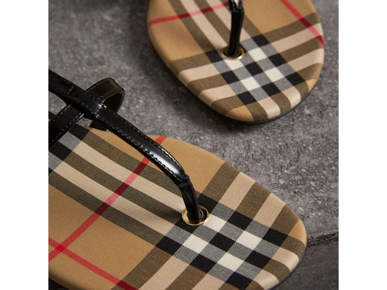 Vintage Check and Leather Sandals in Black - Women | Burberry - cell image 1