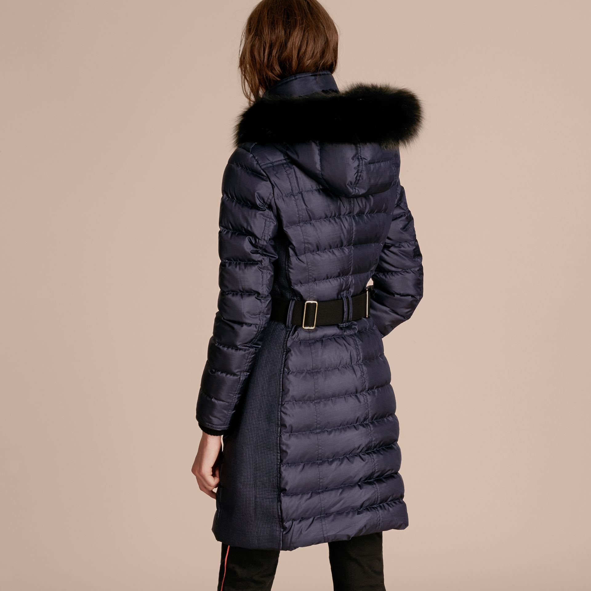 Navy Down-filled Coat with Fur-trimmed Hood Navy - gallery image 3